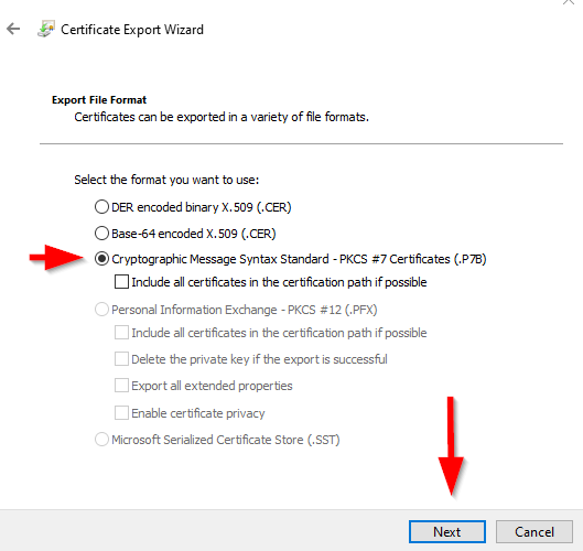 select pkcs certificate file type