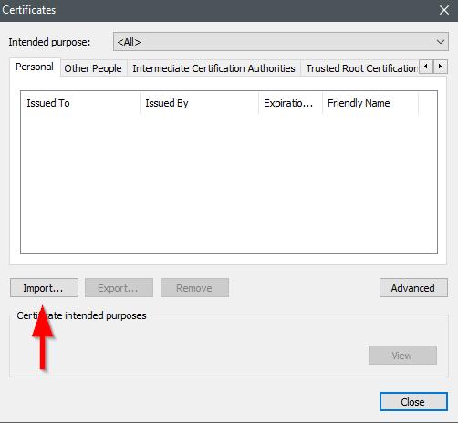import certificate window in chrome settings